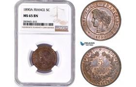 AD197, France, Third Republic, 5 Centimes 1890-A, Paris, NGC MS65BN, Pop 2/0