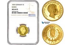 AD198, Germany, Baden, Ludwig, 5 Taler - 500 Kreuzer 1830-D, Karlsruhe, Gold, NGC MS64PL, Pop 1/0, Rare!