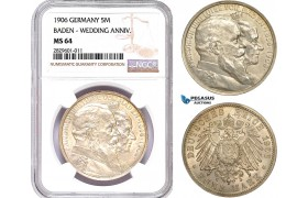 AD199, Germany, Baden, Friedrich, 5 Mark 1906, Wedding Anniv. Silver, NGC MS64