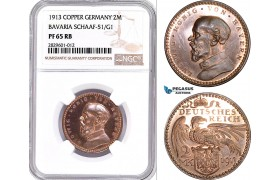 "AD200, Germany, Bavaria, Ludwig, ""Goetz"" 2 Mark 1913, Schaaf-51/G1, NGC PF65RB"
