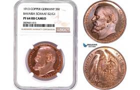"AD201, Germany, Bavaria, Ludwig, ""Goetz"" 3 Mark 1913, Schaaf-52/G1, NGC PF64RB Cameo"