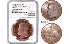 "AD202, Germany, Bavaria, Ludwig, ""Goetz"" 5 Mark 1913, Schaaf-53/G1, NGC PF64RB Cameo"