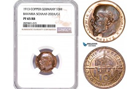 "AD203, Germany, Bavaria, Ludwig, ""Goetz"" 10 Mark 1913, Schaaf-202/G1, NGC PF65RB"