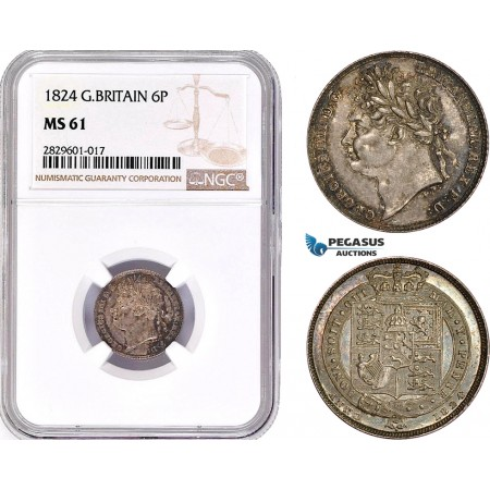 AD206, Great Britain, George IV, Sixpence (6P) 1824, Silver, NGC MS61