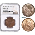 AD207, Great Britain, Victoria, 1 Penny 1862, NGC MS63RB