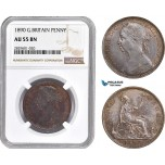 AD209, Great Britain, Victoria, 1 Penny 1890, NGC AU55BN