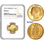 AD211, Great Britain, Victoria, 1 Sovereign 1857, Royal Mint, London, Gold, NGC MS63, Pop 1/0