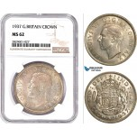 AD216, Great Britain, George VI, Crown 1937, Silver, NGC MS62