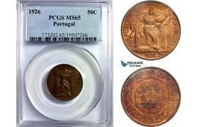 AD225, Portugal, 50 Centavos 1926, PCGS MS65