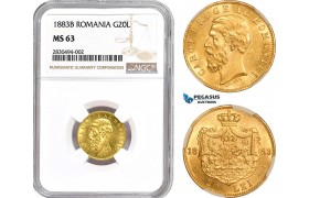 AD226, Romania, Carol I, 20 Lei 1883-B, Bucharest, Gold, NGC MS63