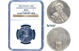 AD227, Romania, Pattern 1000 Lei 2000, Aluminum, NGC MS63