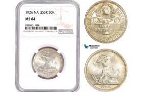 AD232, Russia (USSR) 50 Kopeks 1926 NA, Leningrad, Silver, NGC MS64