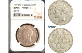AD244, Belgium, Leopold III, 50 Francs 1939, Silver, Flemish, Pos. A, NGC AU58