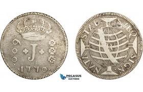 AD249, Brazil, Jose I, 600 Reis 1770-R, Rio de Janeiro, Silver, Curved band on globe, F+, Rare!