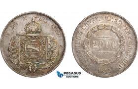 AD250, Brazil, Pedro II, 2000 Reis 1855, Silver, Toned AU