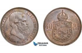 AD251, Brazil, Pedro II, 40 Reis 1873, Cleaned UNC