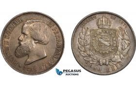 AD252, Brazil, Pedro II, 2000 Reis 1889, Silver, Toned AU