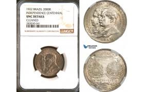 AD253, Brazil, 2000 Reis 1922, Silver, Independence Centennial, NGC UNC Det.