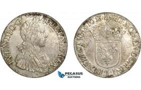 AD263, France, Louis XIV, Ecu 1653-L, Bayonne, Silver (26.99g) Die Adjustments, AU