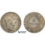 AD265, France, Napoleon, 5 Francs 1811-A, Paris, Silver, Toned AU-UNC (Few Hairlines)