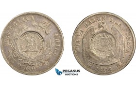 AD272, Guatemala, 1/2 real counterstamp of 1894 on a Chile, 1 Peso, 1876, Toned AU
