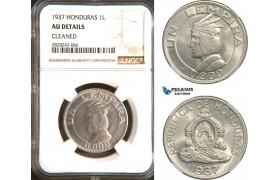 AD273, Honduras, 1 Lempira 1937, Silver, NGC AU Details