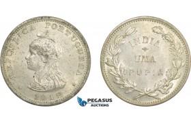 AD274, India (Portuguese) 1 Rupia 1912/1, Silver, Lustrous UNC