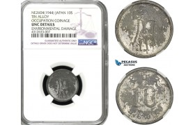 AD279, Japan, Occupation Coinage, 10 Sen NE2604 (1944) NGC UNC Det.