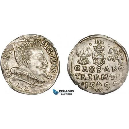 AD280, Lithuania, Sigismund III. of Poland, Trojak (3 Groschen 1595, Vilnius, Silver (2.47g) AU