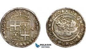 AD281, Malta, Jean-Paul Lascaris, 4 Tari 1648, Silver (10.32g) RS 21, Toned XF
