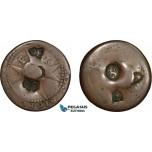 AD282, Malta, Emmanuel de Rohan, Æ 4 Tari ND, 6 countermarks on worn Maltese host coin