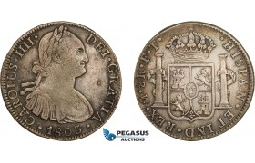 AD283, Mexico, Charles IV, 8 Reales 1803 Mo FT, Mexico City, Silver, Toned VF