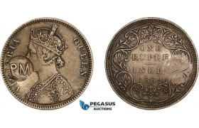 AD284, Mozambique, Carlos I, Rupee ND (1889) countermarked PM (Província de Moçambique) on British India Rupee 1862, Toned VF