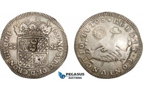 "AD285, Netherlands, Groningen, 28 Stuiver 1681, Silver (18.37g) countermarked ""GO"", XF"