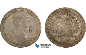 AD288, Netherlands East Indies, Madura Island, Sultan Paku Nata Ningrat, Ducaton ND (1811-54) countermarked Madura Star on Maria Theresia Taler 1765, Günzburg, Silver, Toned XF, c/s Normal