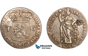 AD289, Netherlands East Indies, Madura Island, Sultan Paku Nata Ningrat, Gulden ND (1811-54) countermarked Madura Star on Holland Gulden 1794, Silver, VF-XF, c/s Normal