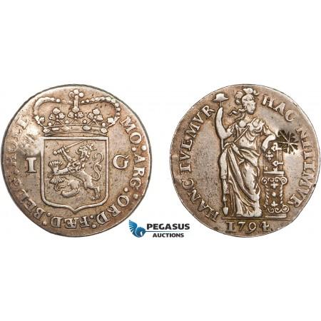 AD289, Netherlands East Indies, Madura Island, Sultan Paku Nata Ningrat, Gulden ND (1811-54) countermarked Madura Star on Holland Gulden 1794, Silver, VF-XF, c/s Normal