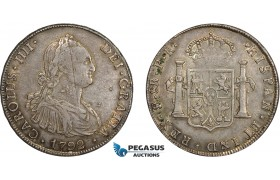 AD290, Bolivia, Charles IV, 8 Reales 1792 PTS PR, Potosi, Silver, Toned VF (Old scratch)