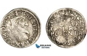 AD291, Poland, Sigismund III, Trojak 1596 IFHR, Posen (Poznan) Silver (2.19g) P.96.5 (R5) Rare! F-VF