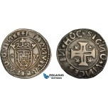 AD293, Portugal, Manuel I, Tostão (100 Reis) ND (1495-1521) Lisbon, Silver (9.51g) Scratched, Toned VF-XF