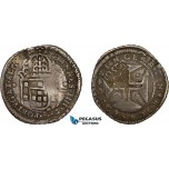 AD295, Portugal, Pedro II, 250 Reis ND (1688) Lisbon, Silver, countermarked