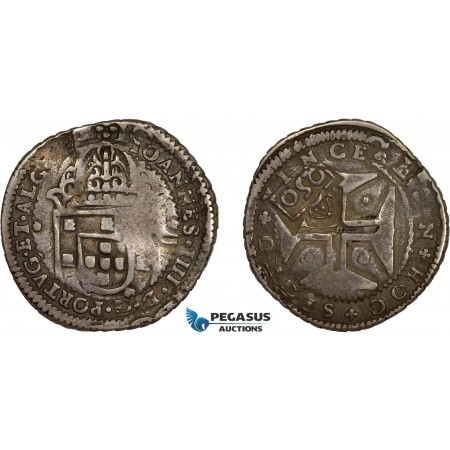 "AD295, Portugal, Pedro II, 250 Reis ND (1688) Lisbon, Silver, countermarked ""Crowned 2SO"" on 200 Reis ND, Toned VF"