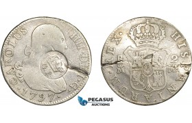 """AD296, Portugal, Azores, 300 Reis ND """"Crowned GP"""" countermarked on Spain, 2 Reales 1797-M, Cracked, F"""