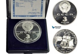 AD300, Russia (USSR) 3 Roubles 1991, Leningrad, Silver, Fort Ross in California, Proof, COA/Box