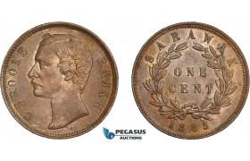 AD301, Sarawak, C. Brooke Rajah, 1 Cent 1885, Verdegris spots, AU