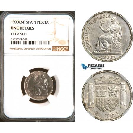 AD302, Spain, Peseta 1933 (34) Silver, NGC UNC Det.