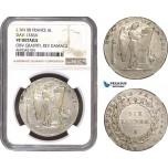 AD305, France, First Republic, 6 Livres L'an II (1794) B, Rouen, Silver, Gad. 60 (R2) NGC VF Det., Rare!