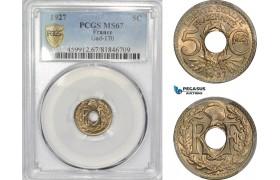 AD306, France, Third Republic, 5 Centimes 1927, Paris, PCGS MS67, Top Pop!