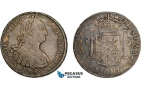AD311, Peru, Charles IV, 8 Reales 1792 LIMA IJ, Silver, Toned XF-AU (Few scratches)