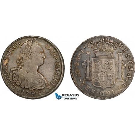 AD311, Peru, Charles IV, 8 Reales 1792 LIMA IJ, Silver, Toned XF-AU (Few scratches)